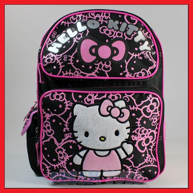 Sanrio Hello Kitty Black Glitter 14 Backpack   Bag School Girls Kids