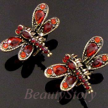 ADDL Item  2p antiqued rhinestone crystal dragonfly hair