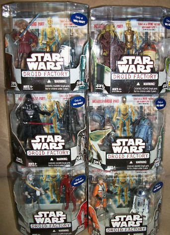 EXCLUSIVE WAL MART Star Wars DROID FACTORY SET of 6x