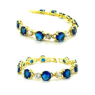Christmas Gift JEWELRY FASHION JEWELRY BLUE SAPPHIRE YELLOW GP LADIES