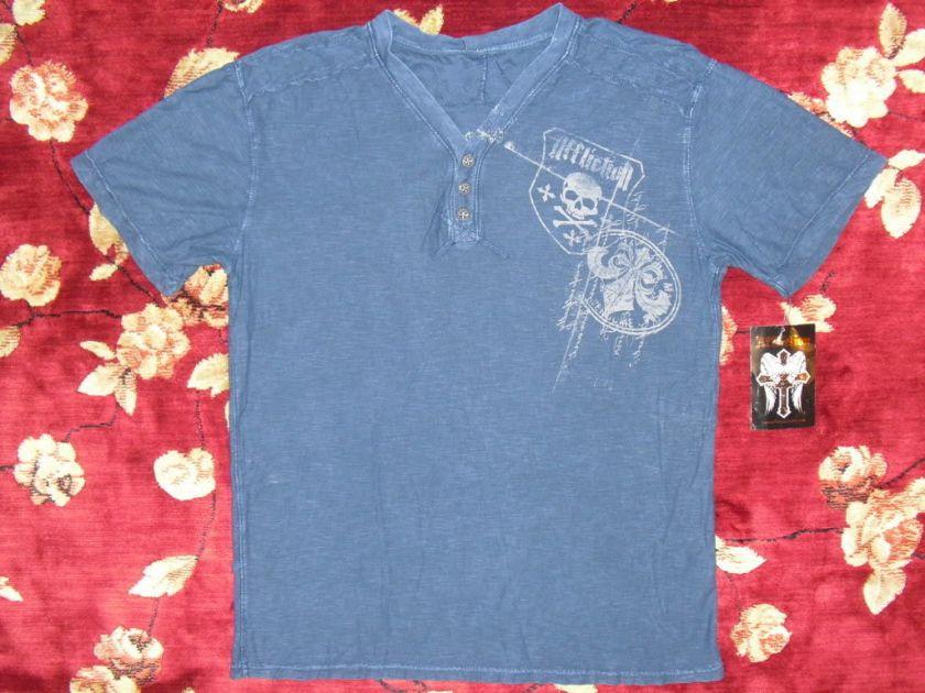 Blue Henley Shirt Size Medium M Authentic World War Skull Cross