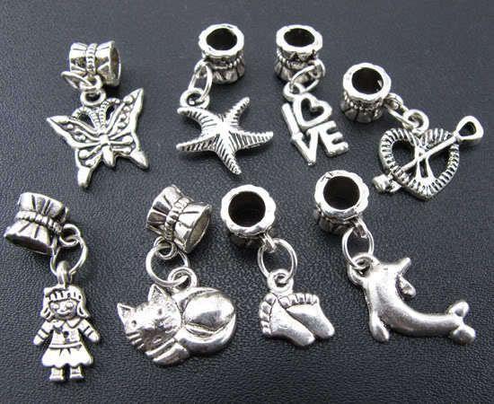 Wholesale 100pcs Mix Tibetan Silver Dangle Beads Fit Charm Bracelet