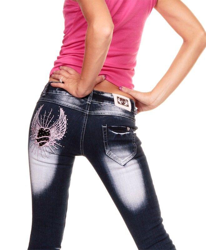 TOP WOMEN BLUE JEANS PANTS TOP mit Strass 30W L