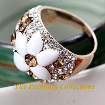 Ring Flora w Swarovski Crystal 18K Rose Gold Plated