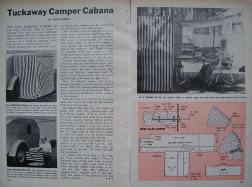 How to Build TEARDROP CAMPER CABANA Dressing Room / Awning 1966 DIY