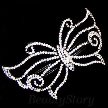 ADDL Item , 1pc rhinestone crystal flower hair barrette