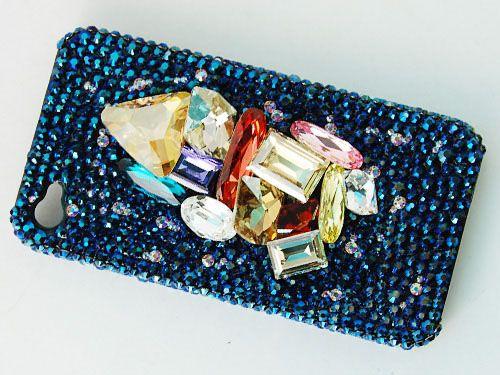 Blue 3 D Stone Cluster Case Cover With Swarovski Crystal Rhinestone