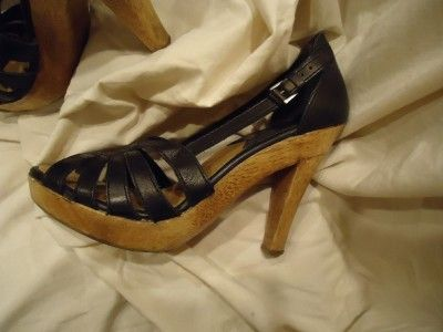 Michael Kors Black Leather Open Toe Wooden Platform High Heel Shoe