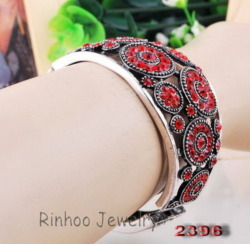 1p Bright Red Full Ringed Flowers Rhinestone Crystal Tibet Silver Cuff